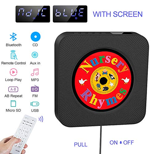 Portable CD Player,Built-in HIFI Speaker,Wall-Mounted Bluetooth USB MP3...