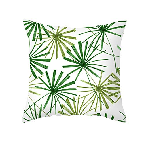 KnBoB Funda Cojin 50 x 50 cm Patrón de Hojas de Plantas Poliéster Verde Blanco Estilo 8