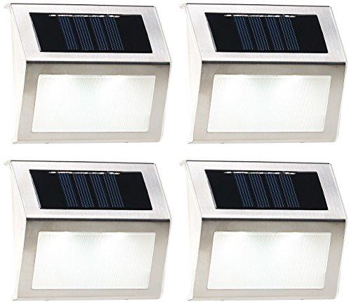 Lunartec Treppenleuchten: 4er-Set Solar-LED-Wand- & Treppen-Leuchten für außen, Edelstahl, 20 lm (Solarleuchten für Treppenstufen)