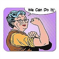 マウスパッド防傷機能おばあちゃん老婦人ジェスチャー私たちはそれを行うことができますノートブック、デスクトップコンピューターマウスマット、オフィス用品のマウスパッド防傷機能