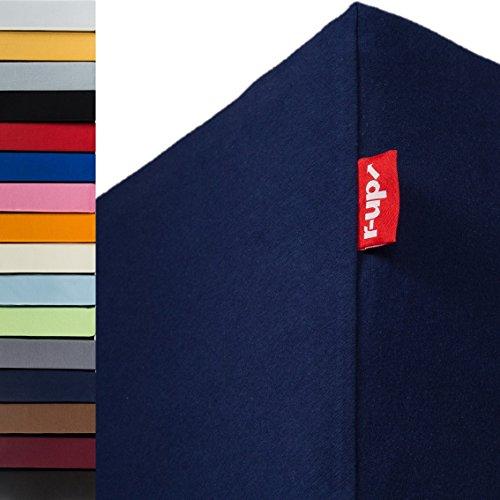 r-up Passt Spannbettlaken 140x200-160x200 bis 35cm Höhe viele Farben 100% Baumwolle 130g/m² Oeko-Tex stressfrei auch für hohe Matratzen (dunkelblau)