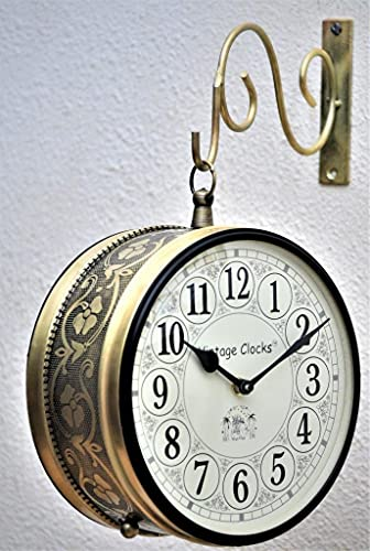 Vintage Clock Double Side (Railway Style) Clock with Brass Finish & 1 Year Warranty ( 6 Inches 15x15 CM's Size)