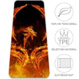 LEVEIS Yoga Mat Flames Phoenix Bird Thick Non Slip Exercise Workout Mats for Home Gym Floor Travel 24x72 inches