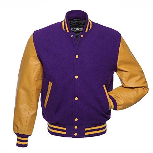 Varsity Letterman Jacket Purple Wool & Gold Leather,C137-3XL