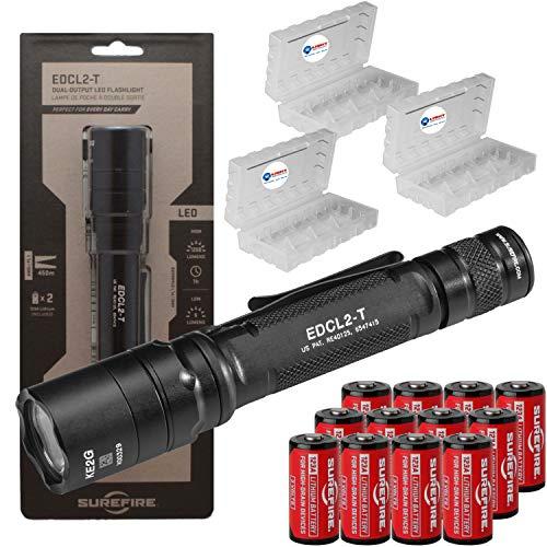 SureFire EDCL2-T 1200 Lumen Tactical EDC Flashlight Bundle with 12 Extra Surefire CR123 Batteries and 3 Lightjunction Battery Cases