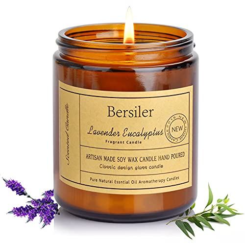Bersiler Aromatherapy Candles, 7 OZ Lavender Eucalyptus Scented Candles Stress Relief and Relax for Home & Bedroom Gift for Women/Men Soy Wax