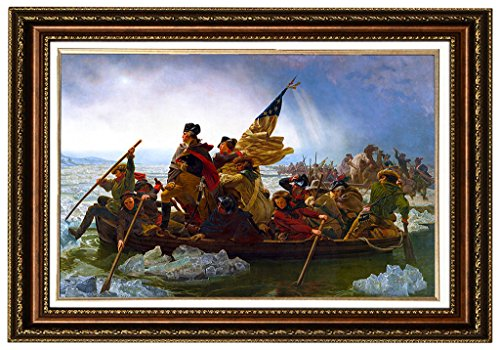 "Eliteart- Washington Crossing the Delaware By Emanuel Gottlieb Leutze Oil Painting Reproduction Giclee Wall Art Canvas Prints-Framed Size:26""x36"""
