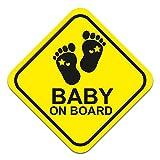 Pegatina para coche con diseño de bebé sobre borde, 10 x 10 cm, pegatina para la luna trasera de coche, accesorio autoadhesivo resistente a la intemperie R123 (pies, unisex)