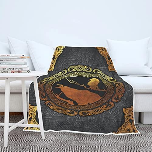 AXGM Manta para niños y niñas, manta vikinga con diseño de cuervos en 3D, manta de invierno para sillón, manta con capucha, color blanco, 130 x 150 cm