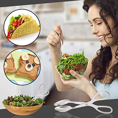 Product Image 6: Stainless Steel Salad Tongs, 8 Inch Serving Tongs with Comfortable Grip, Anti Rust and Corrosion Dishwasher Safe Fork Tongs for Home Kitchen Party Buffet Catering with Food Recipe Ebook