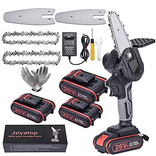 Y&J Mini Motosierra Eléctrica Recargable Con Batería De 2000 mAh, Mini Motosierra Inalámbrica De 4 Pulgadas, 26 V, 3 Baterías, 2 Cadenas, 2 Guías, 1 Guantes Resistentes a Cortes