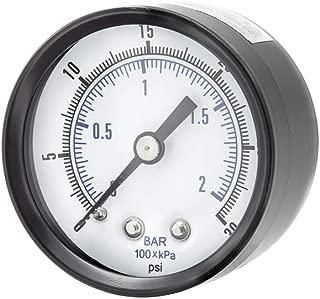 PIC Gauges SE-102D-204C Utility Gauge Center Back Mount, 3-2-3% Accuracy