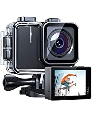 4K/30FPS A100 アクションカメラ 2000万画素 2インチタッチパネル 6軸EIS手ブレ補正 WiFi搭載 リモコン付け 40M防水 水中カメラ 連写 120fpsスロモーション 170°広角レンズ ウェアラブルカメラ 1350mAhバッテリー2個バイク/自転車/車/ヘルメットに取り付け可能 スポーツカメラアクションカム