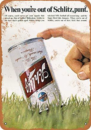 Blechschild Phirtyrius 1969 Schlitz Bier und Fußball, Vintage-Look, 25,4 x 35,6 cm