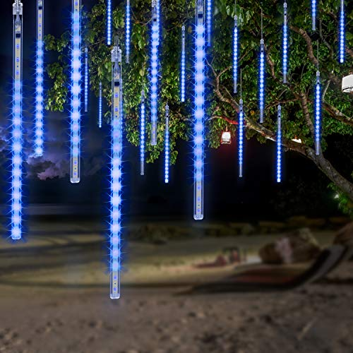 OMGAI LED Meteor Shower Rain Lights - Waterproof Drop Icicle Snow Falling Raindrop 30cm 8 Tubes Cascading Lights for Wedding Xmas Home Décor, Blue