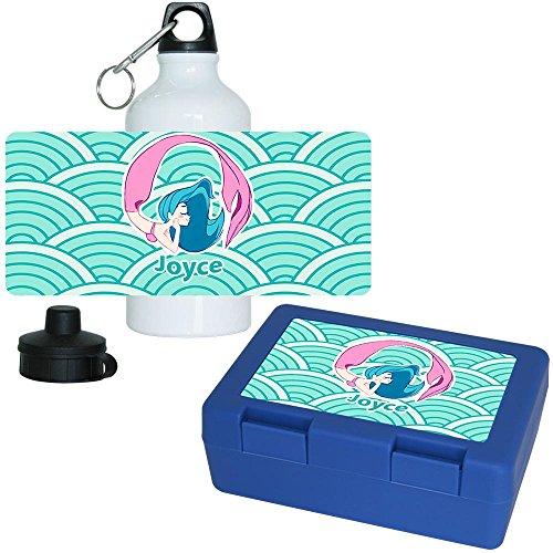Brotdose + Trinkflasche Set mit Namen Joyce und schönem Motiv mit Meerjungfrau für Mädchen | Aluminium-Trinkflasche | Lunchbox | Vesper-Box