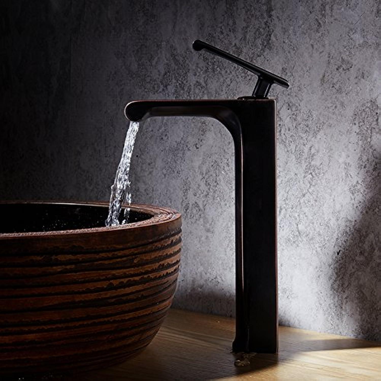 ETERNAL QUALITY Badezimmer Waschbecken Wasserhahn Messing Hahn Waschraum Mischer Mischbatterie Tippen Sie auf Keramik Ventil Armaturen Wasserhahn Schwarze Hhne voll Mess
