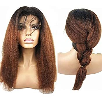 N.L.W Brazilian human hair lace front wigs for black women T1b/30 Ombre color Glueless Italian yaki kinky straight human hair wigs with baby hair 14 inches