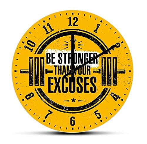 Sii più forte delle tue scuse Orologio da parete per allenamento ispiratore per l'orologio da parete decorativo per la palestra di fitness con bilanciere per sollevamento pesi(30Cm)