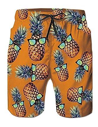 Pantalones Cortos de piña Hawaiana para Hombre con Forro de Malla, bañadores de Playa Estampados para Nadar y Surfear en Verano, bañadores de Talla Grande para Deportes XXL