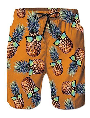 Pantalones Cortos de natación con cordón para niños Pantalones Cortos de Playa de piña Azul con Estampado Divertido en 3D Pantalones Cortos de Secado rápido para Verano S.