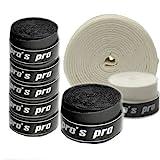 Pro's Pro Lot de 10grips pour raquettes de tennis, badminton, squash - Noir