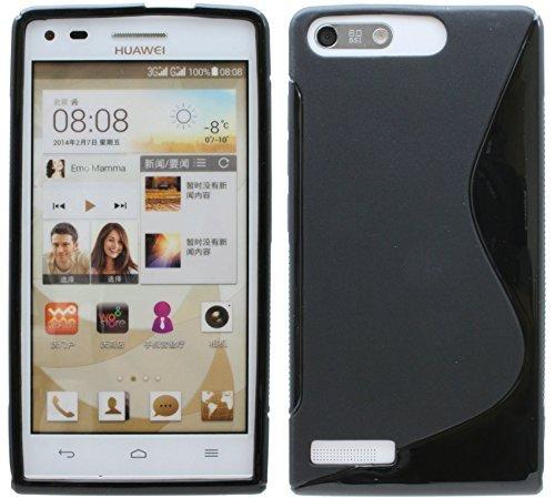 ENERGMiX Silikon Hülle kompatibel mit Huawei Ascend G6 S-Line Tasche Hülle Zubehör Schale in Schwarz