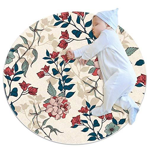 ASDFSD veelhoekige schedels en botten grote baby tapijt voor kinderdagverblijf kinderen ronde warme zachte activiteit mat vloerbedekking antislip voor kinderen peuters slaapkamer