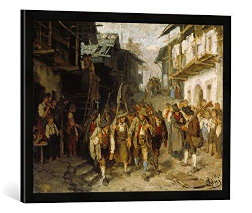 Gerahmtes Bild von Franz von Defregger Skizze: Das letzte Aufgebot, Kunstdruck im hochwertigen handgefertigten Bilder-Rahmen, 70x50 cm, Schwarz matt