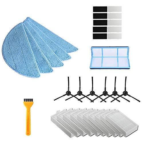 Bisheep Kit de accesorios para aspiradora robot de repuesto, cepillo lateral, filtro de polvo primario, mopa Hepa, filtro para Ilife V5 V5S V3 V3S V5Pro V50 V55 X5 V5S Pro de repuesto
