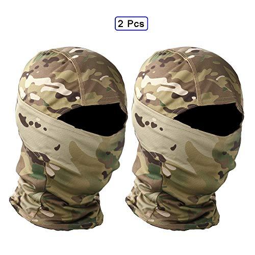 QWET Tactical Face Scarf Mask, Headwear, Bandana, Neck Gaiter, Head Wrap, Headband, Respirable Elástico, Absorbe la Humedad (2 Piezas),B