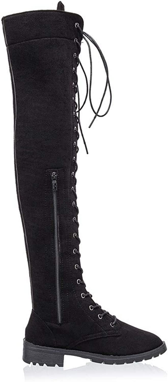 T-JULY New Women's Fashion Womens Knee High Boots Flat Ankle Snow Dance Lace Up Canvas Long Boots shoes De women Botas
