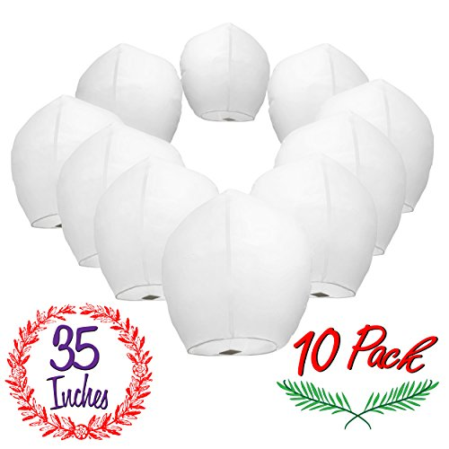 Chinese Sky Lanterns White Paper (10) Pack - Ready to Use and Eco Friendly -...