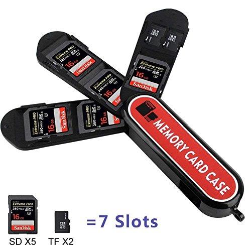 Speicherkartenhalter, LXH Speicherkartendose mit Karabiner - Schweizer Taschenmesser-Design für 5 SD- (SDHC / SDXC) und 2 Micro SD- (TF) -Karten (5SD + 2TF-Steckplätze)