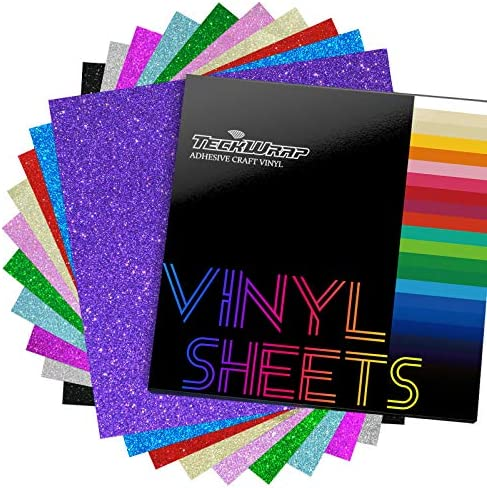 TECKWRAP Shimmer Vinyl Glitter Adhesive Sheets for Craft Cutter 12 x 12 10 Sheets Pack product image