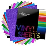 TECKWRAP Shimmer Vinyl Glitter Adhesive Sheets for Craft Cutter 12' x 12' 10 Sheets/Pack