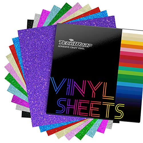 """TECKWRAP Shimmer Vinyl Glitter Adhesive Sheets for Craft Cutter 12"""" x 12"""" 10 Sheets/Pack"""