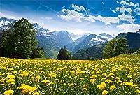 GooEoo 8x6ft 春の自然風景テーマシーン晴れた空の森黄色い花畑写真背景スタジオフォトブースブース背景家族休暇誕生日パーティー写真ビニール素材