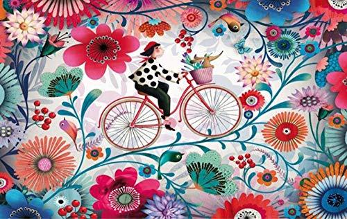 Fototapete 3d Tapete Wallpaper Mädchen, Das Ein Fahrrad Mit Farbigen Blumen Reitet Wandbild Vliestapete Tapeten Tapete Schlafzimmer Wohnzimmer Wandbilder Wanddeko 200x140cm