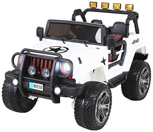 Actionbikes Motors Kinder Elektroauto Jeep Wrangler Offroad - 4x4 Allrad - USB - Sd Karte - 4 x 35 Watt Motor - 2-Sitzer - Rc 2,4 Ghz Fernbedienung - Elektro Auto für Kinder ab 3 Jahre (Weiß)