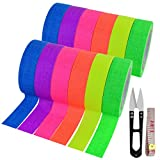 12 Pack UV Blacklight Reactive 6 Color Fluorescent Tape Fluorescent Cloth Tape Colorful