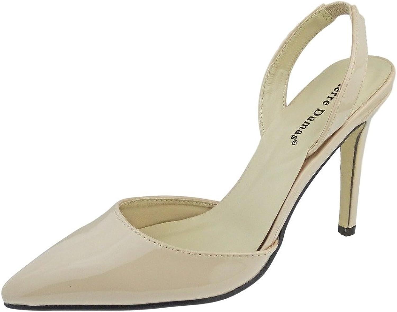 Pierre Dumas Women's Cherry-4 Vegan Leather Pointed-Toe D'orsay Slingback Dress Pump Stiletto Heels