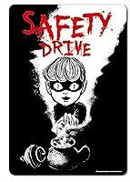 LCS-643 猫目小僧 SAFETY DRIVE 楳図かずお反射素材ステッカー 車やバイクに! 楳図かずおグッズ ステッカー