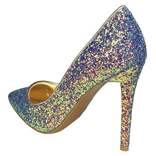 Anne Michelle Women's Pointy-Toe Dress Heel Plain Pump in Glitter, Blue Glitter, 7.5 B (M) US