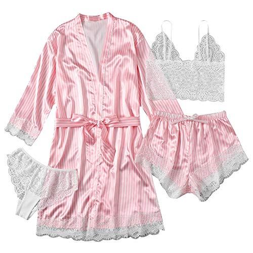 4 Teiliges Satin Pyjama Dessous-Sets, Dessous Frauen Spitze Babydoll Nachtwäsche Nachthemd Set Kimono Damen Morgenmantel Satin Bademantel Seide Roben V Ausschnitt Mit Blumenspitze