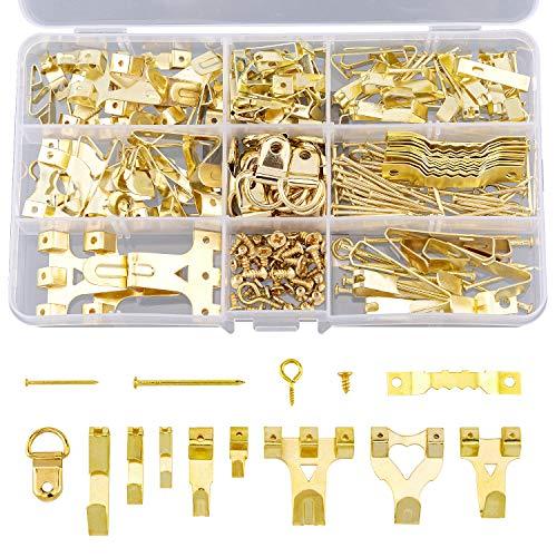 AIEX 266 piezas Kit de Colgadores de Cuadros Surtidos Ganchos para Colgar Marco Herrajes con Ganchos, Clavos, Diente de Sierra, Anillo en D y Ojales