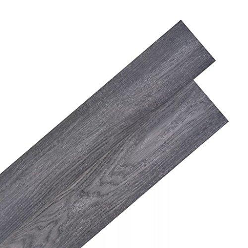 Festnight PVC Fußboden-Set Laminatboden 36 STK.PVC Bodenbelag Küche Bodenbelag Bad Selbstklebend 5,02 m² Schwarz