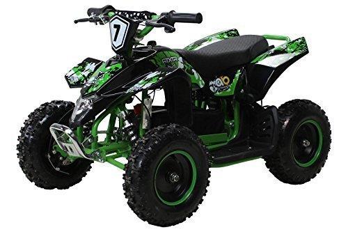 Actionbikes Motors Kinder Elektro Miniquad Fox XTR 1000 Watt 48 Volt - Gelochte Scheibenbremsen - 3 Geschwindigkeiten (Schwarz Grün)