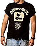 MAKAYA Camiseta Hippie Hombre - Woodstock - Negro L