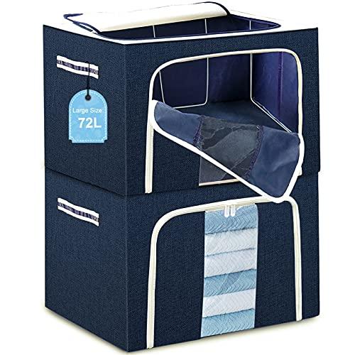 Stapelbare Aufbewahrungsbox Kleidung Oxford Stoff - 2x 72L, Tulab Faltbare große Aufbewahrungstasche für Bettdecken und Kissen, Mit Metallrahmen, Sichtfenster, verstärkteren Griff und Reißverschluss